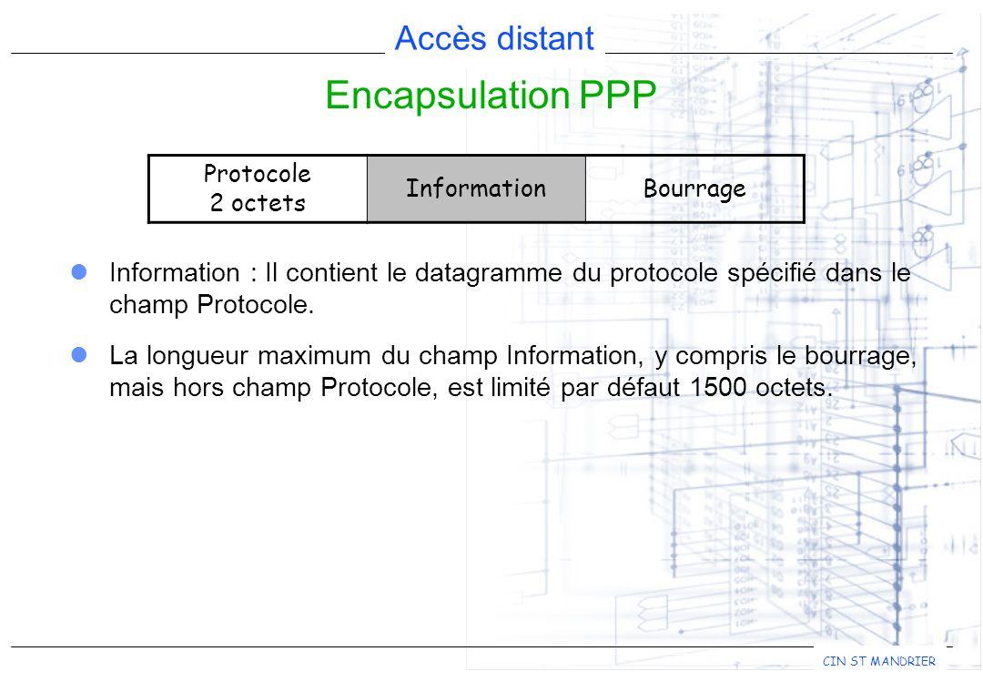 Encapsulation PPP Information : Il contient le datagramme du protocole spécifié dans le champ Protocole.