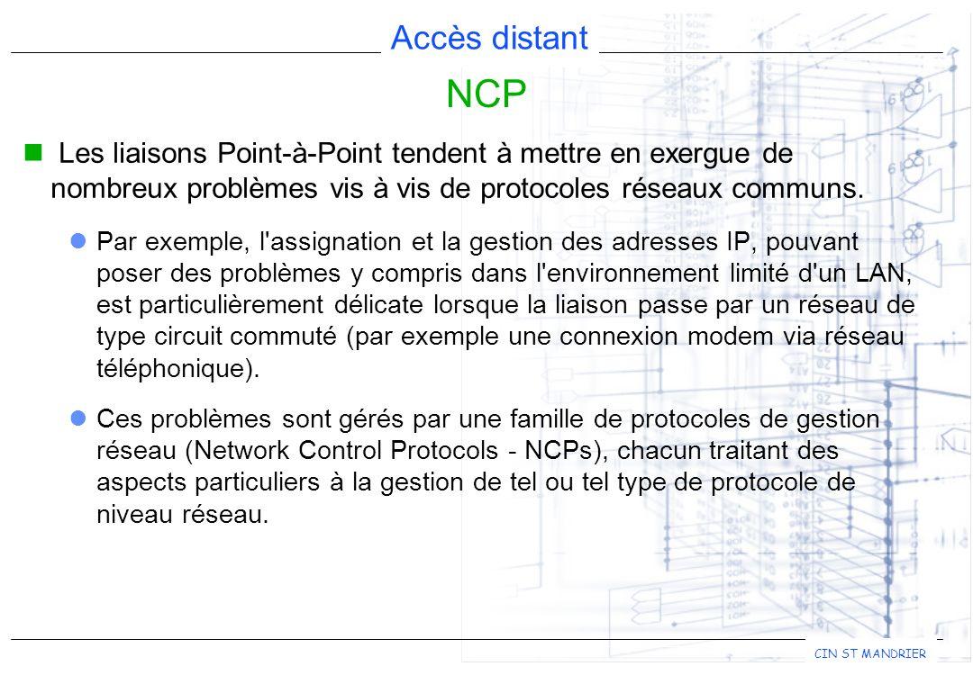 NCP Les liaisons Point-à-Point tendent à mettre en exergue de nombreux problèmes vis à vis de protocoles réseaux communs.