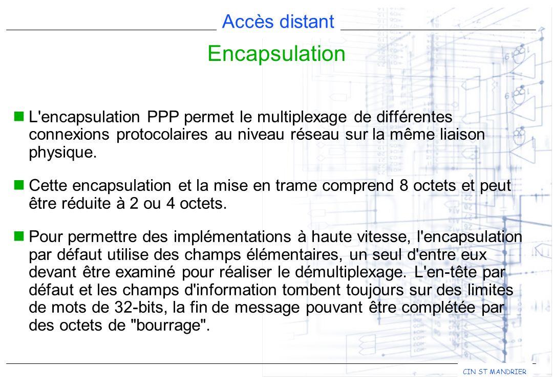 Encapsulation L encapsulation PPP permet le multiplexage de différentes connexions protocolaires au niveau réseau sur la même liaison physique.