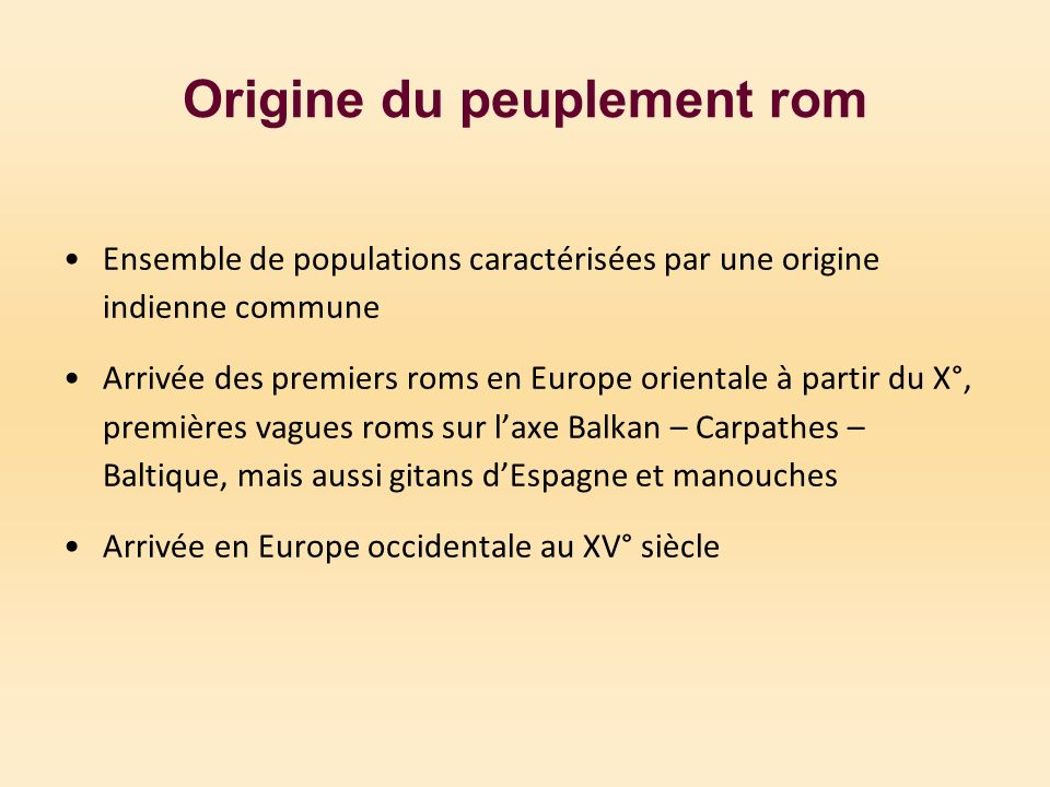 Origine du peuplement rom