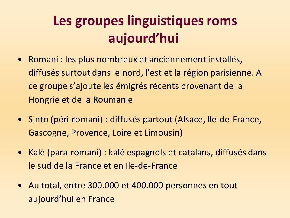 Les groupes linguistiques roms aujourd'hui
