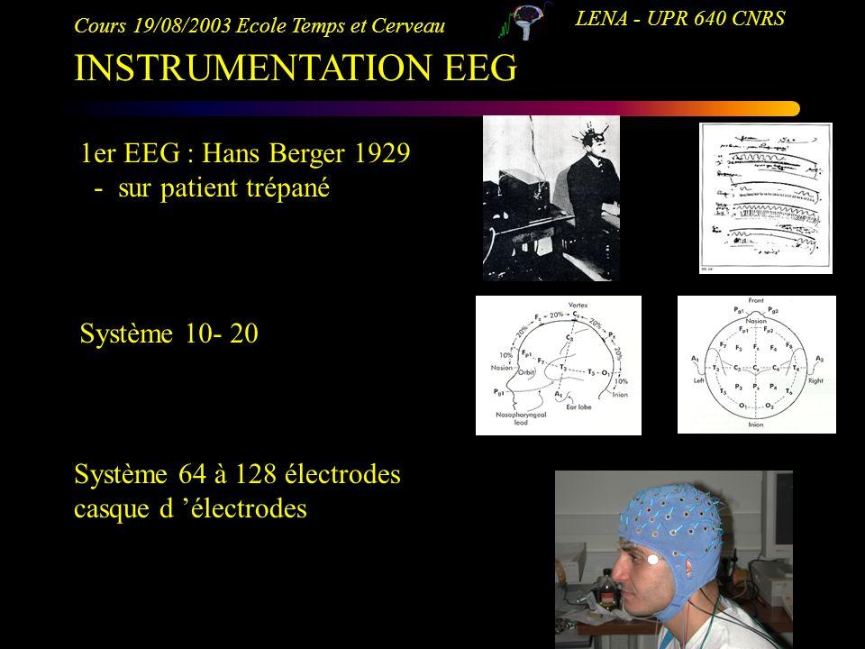 INSTRUMENTATION EEG 1er EEG : Hans Berger 1929 - sur patient trépané