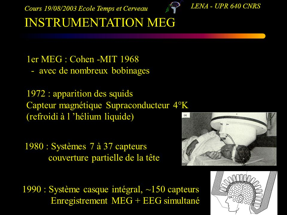 INSTRUMENTATION MEG 1er MEG : Cohen -MIT 1968