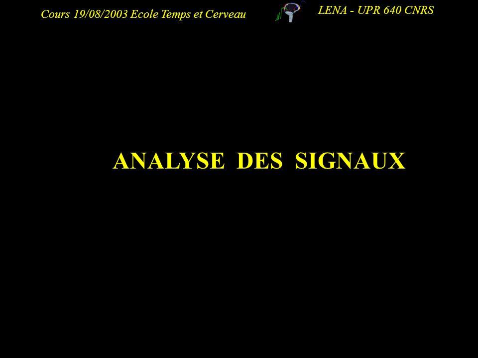 LENA - UPR 640 CNRS ANALYSE DES SIGNAUX