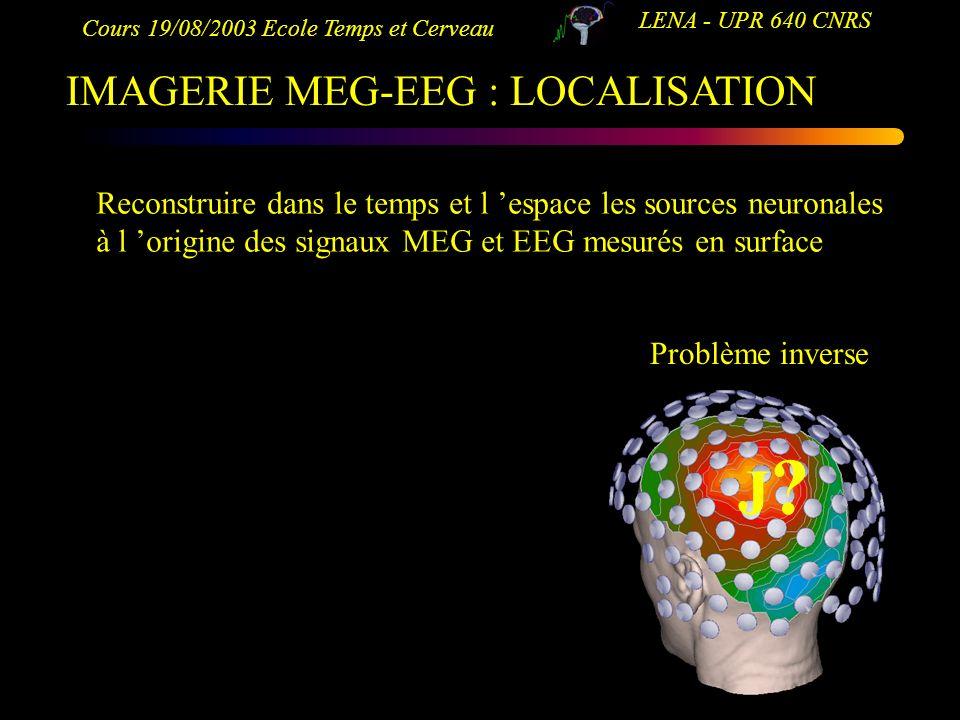 J IMAGERIE MEG-EEG : LOCALISATION