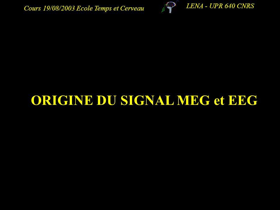 ORIGINE DU SIGNAL MEG et EEG
