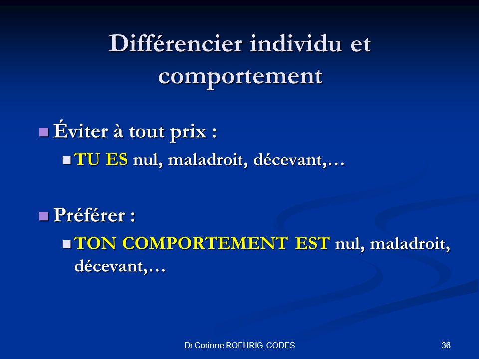 Différencier individu et comportement