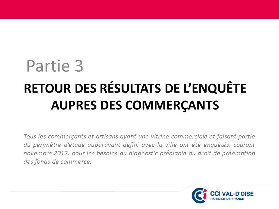 RETOUR DES RÉSULTATS DE L'ENQUÊTE AUPRES DES COMMERÇANTS