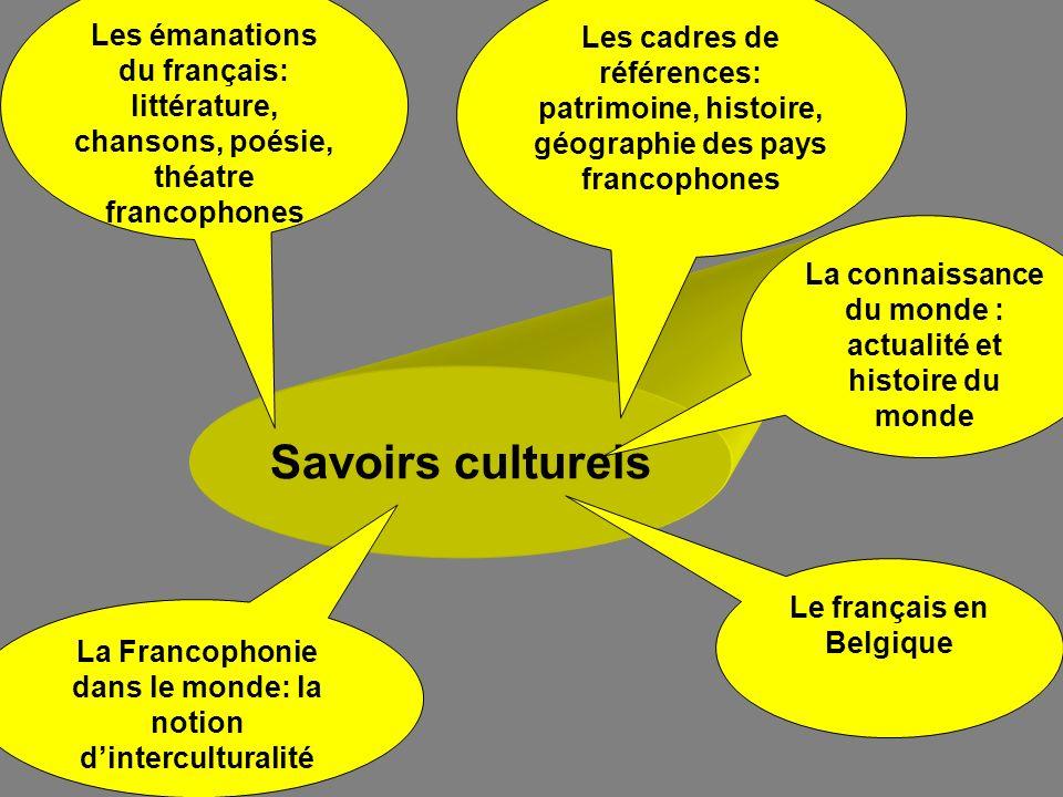 Les émanations du français: littérature, chansons, poésie, théatre francophones