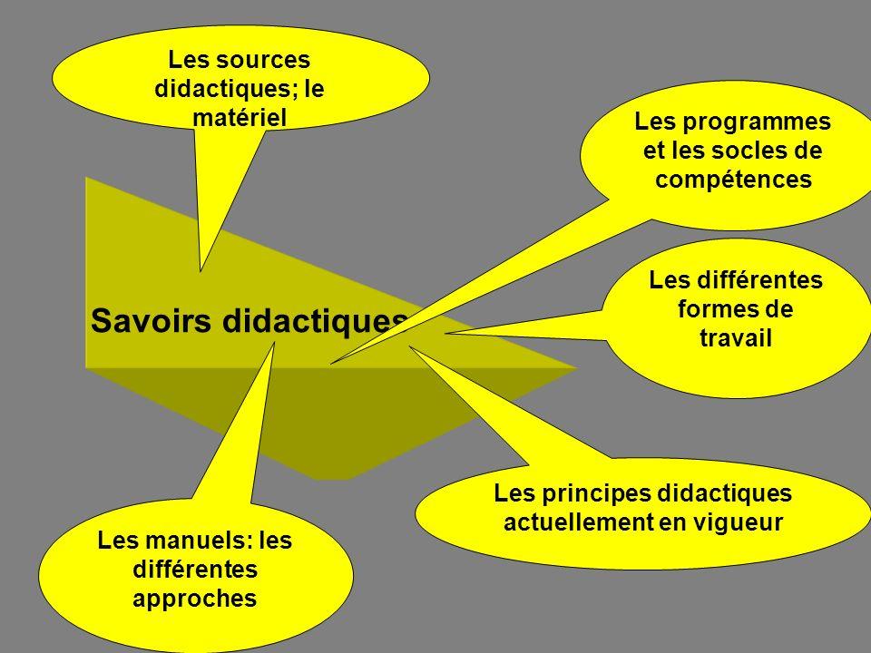 Savoirs didactiques Les sources didactiques; le matériel