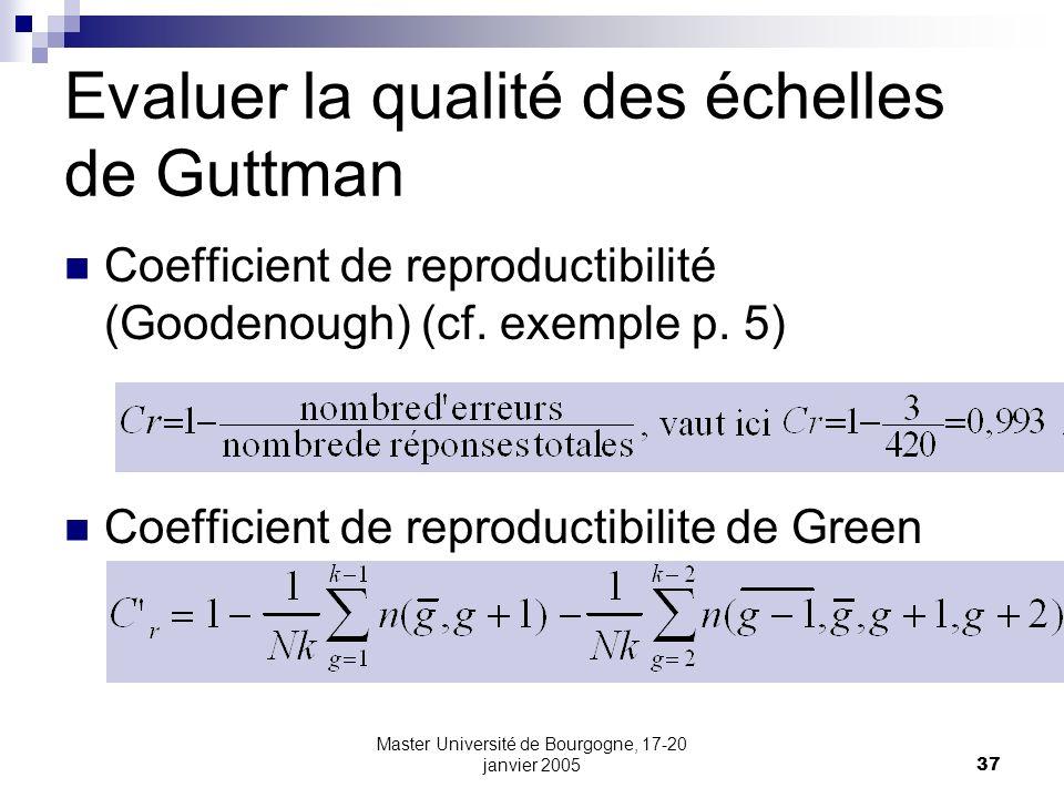 Evaluer la qualité des échelles de Guttman
