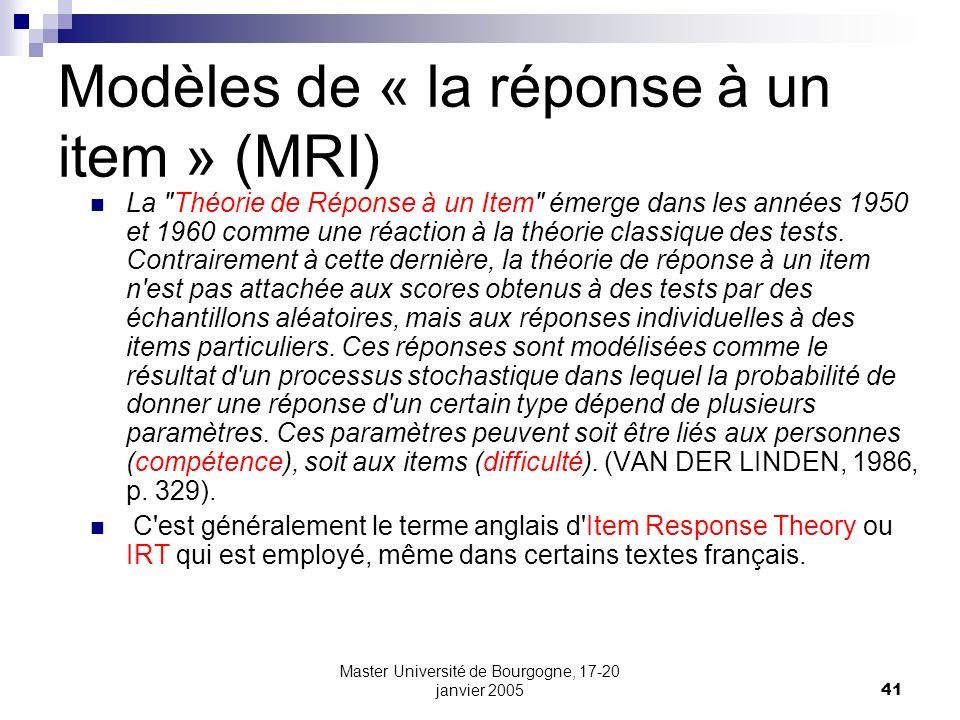 Modèles de « la réponse à un item » (MRI)