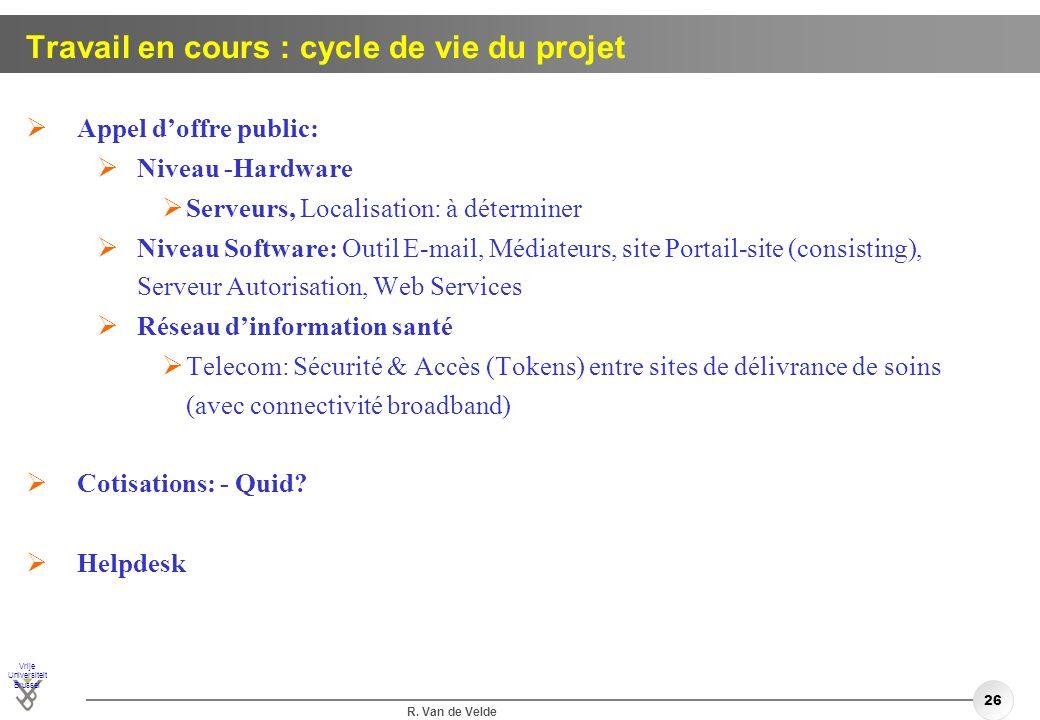 Travail en cours : cycle de vie du projet