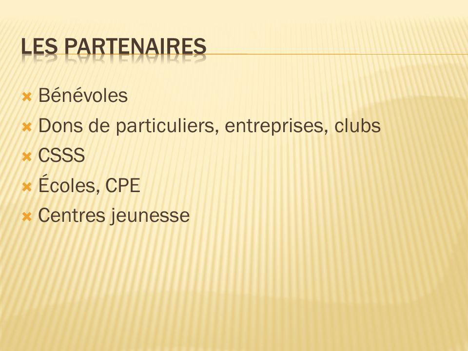 Les partenaires Bénévoles Dons de particuliers, entreprises, clubs