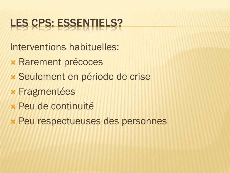 Les cps: Essentiels Interventions habituelles: Rarement précoces