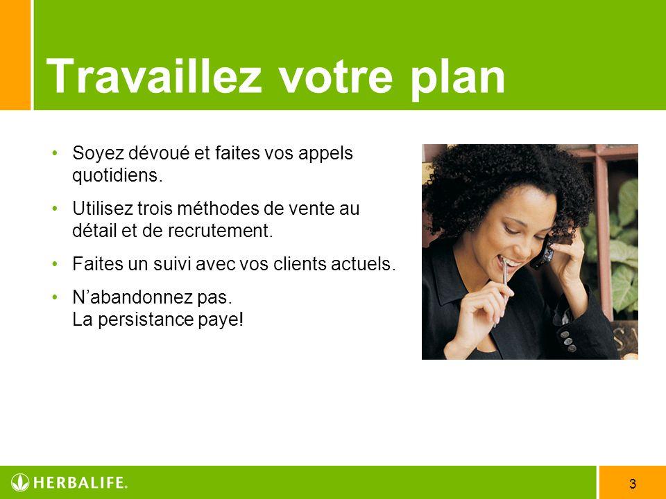 Travaillez votre plan Soyez dévoué et faites vos appels quotidiens.