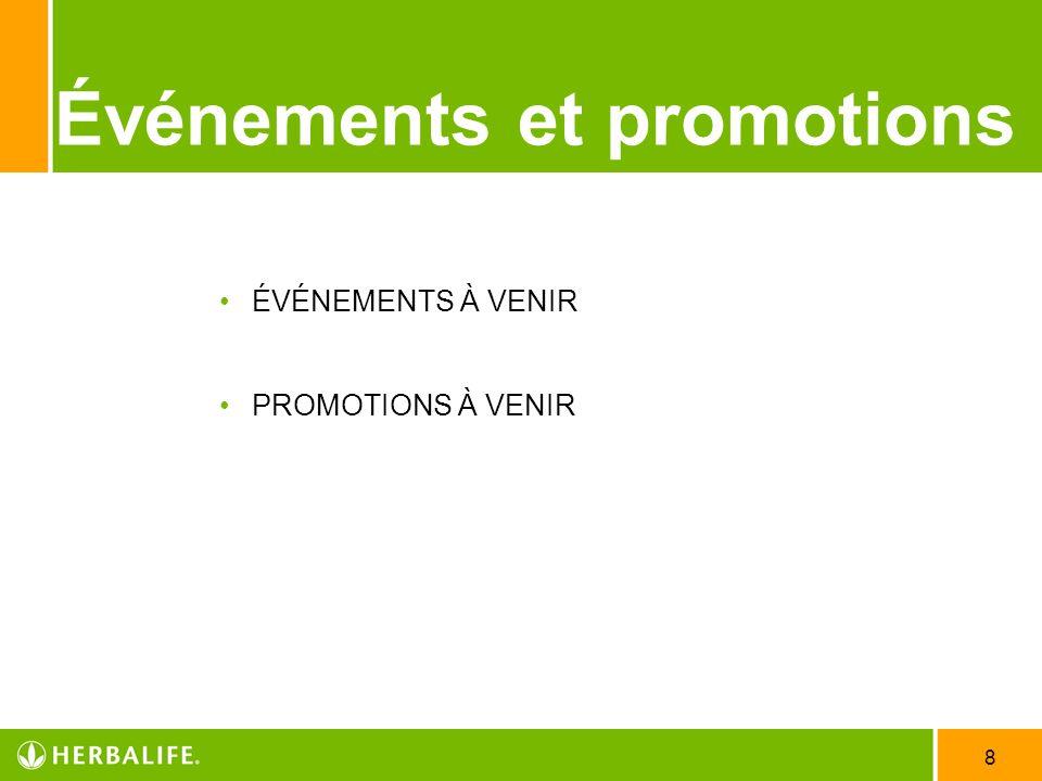 Événements et promotions