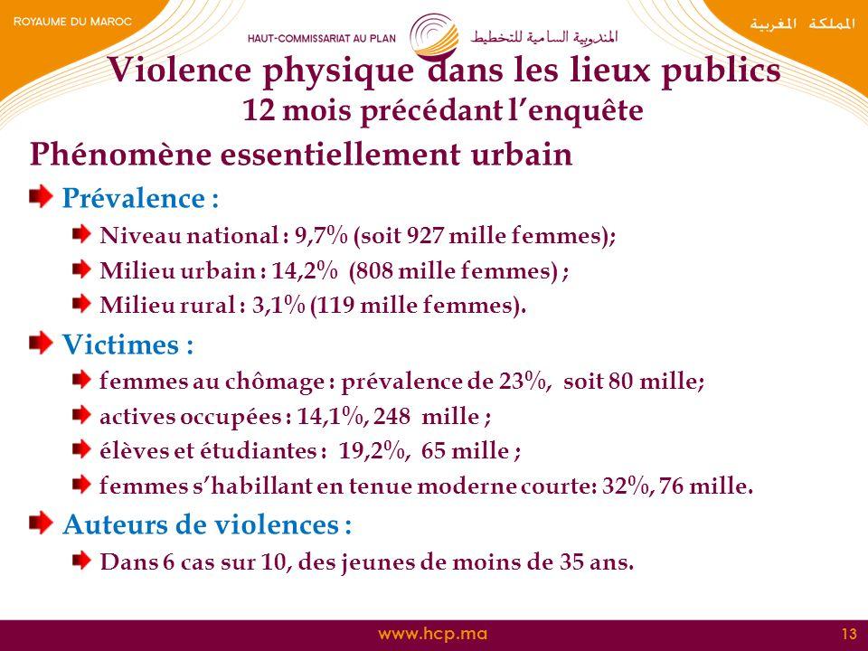 Violence physique dans les lieux publics 12 mois précédant l'enquête