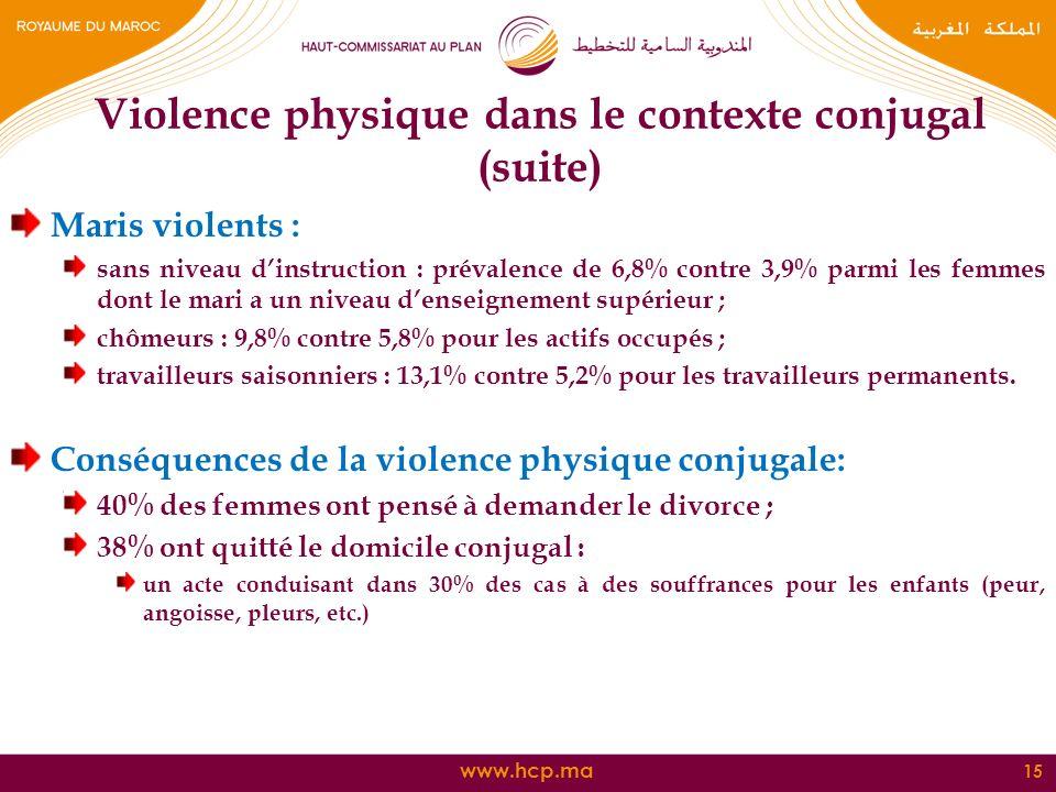 Violence physique dans le contexte conjugal (suite)