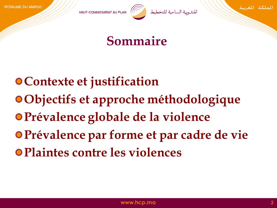 Sommaire Contexte et justification