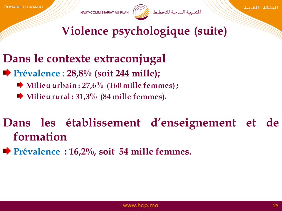 Violence psychologique (suite)