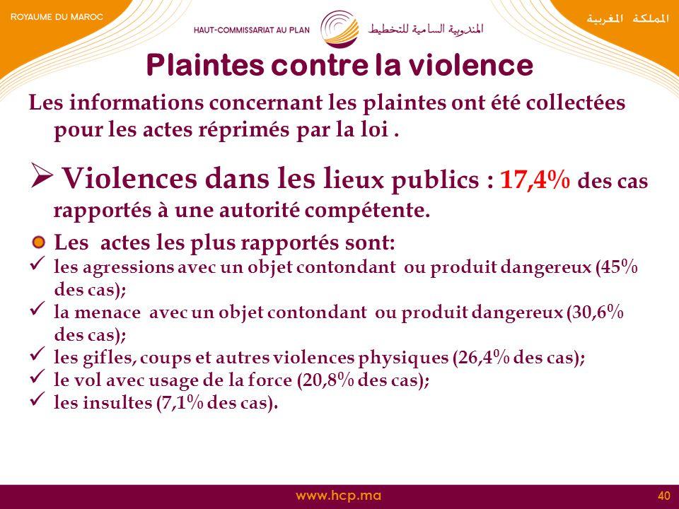 Plaintes contre la violence