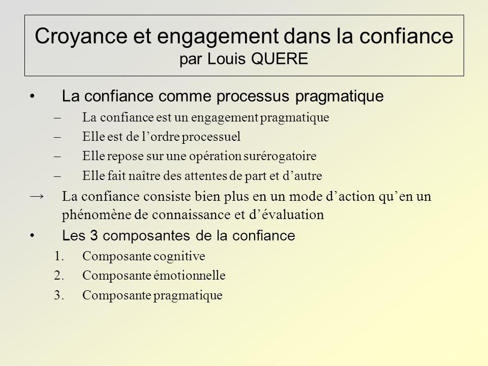 Croyance et engagement dans la confiance par Louis QUERE
