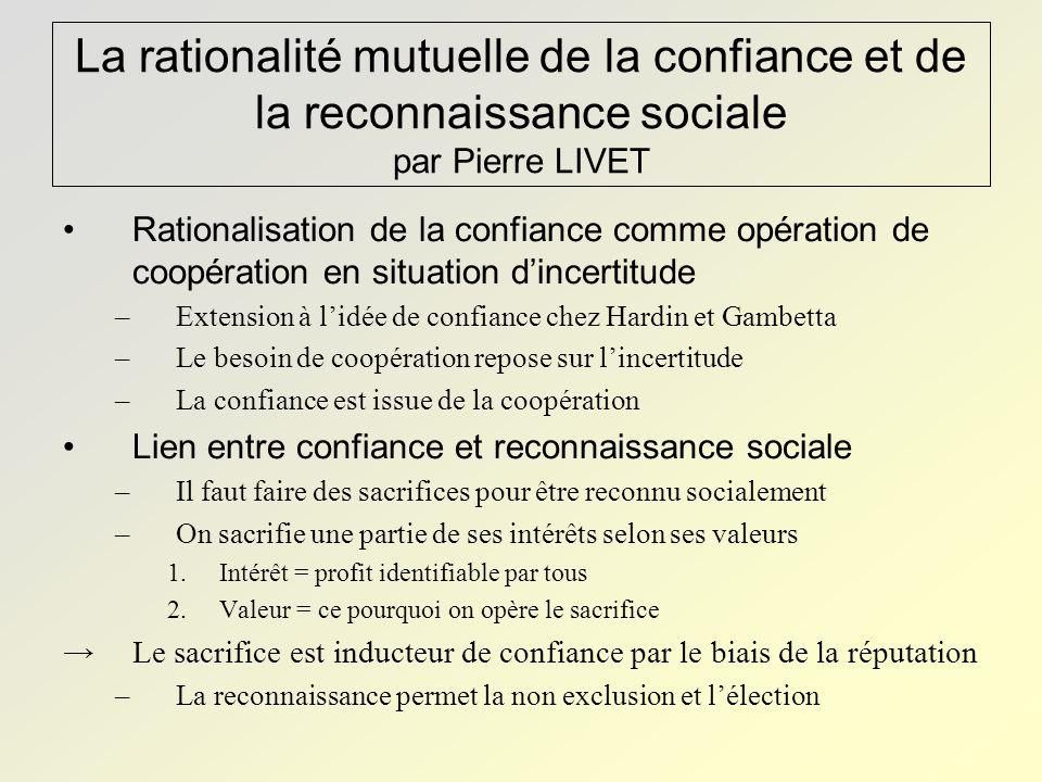 La rationalité mutuelle de la confiance et de la reconnaissance sociale par Pierre LIVET