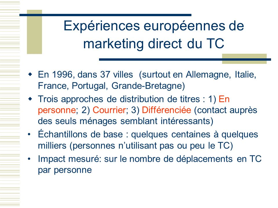 Expériences européennes de marketing direct du TC