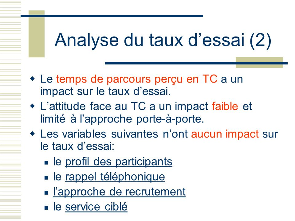 Analyse du taux d'essai (2)