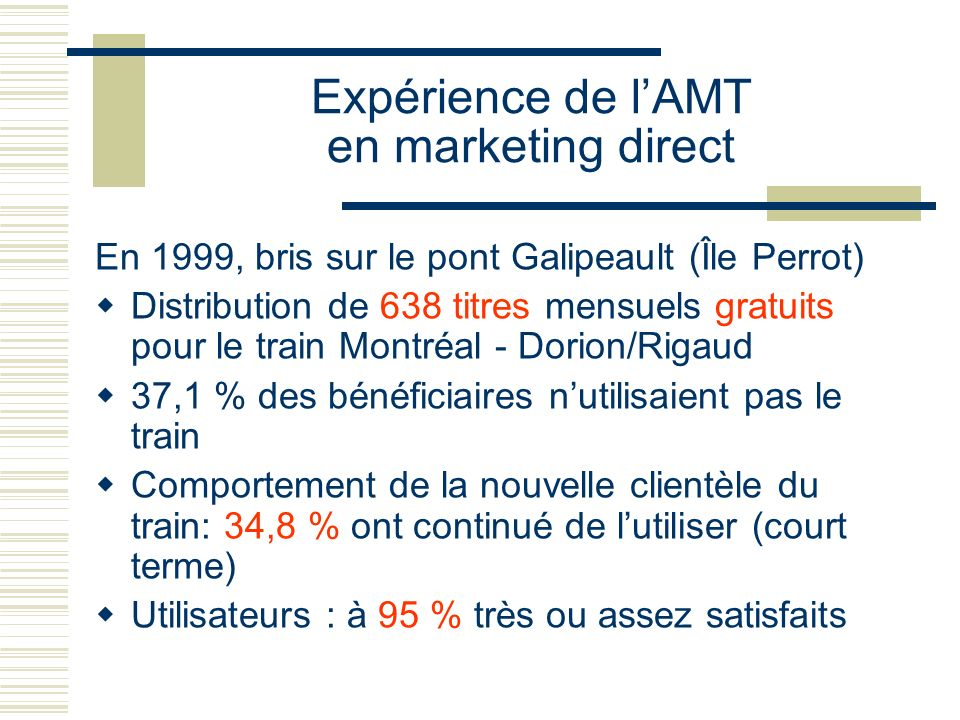 Expérience de l'AMT en marketing direct