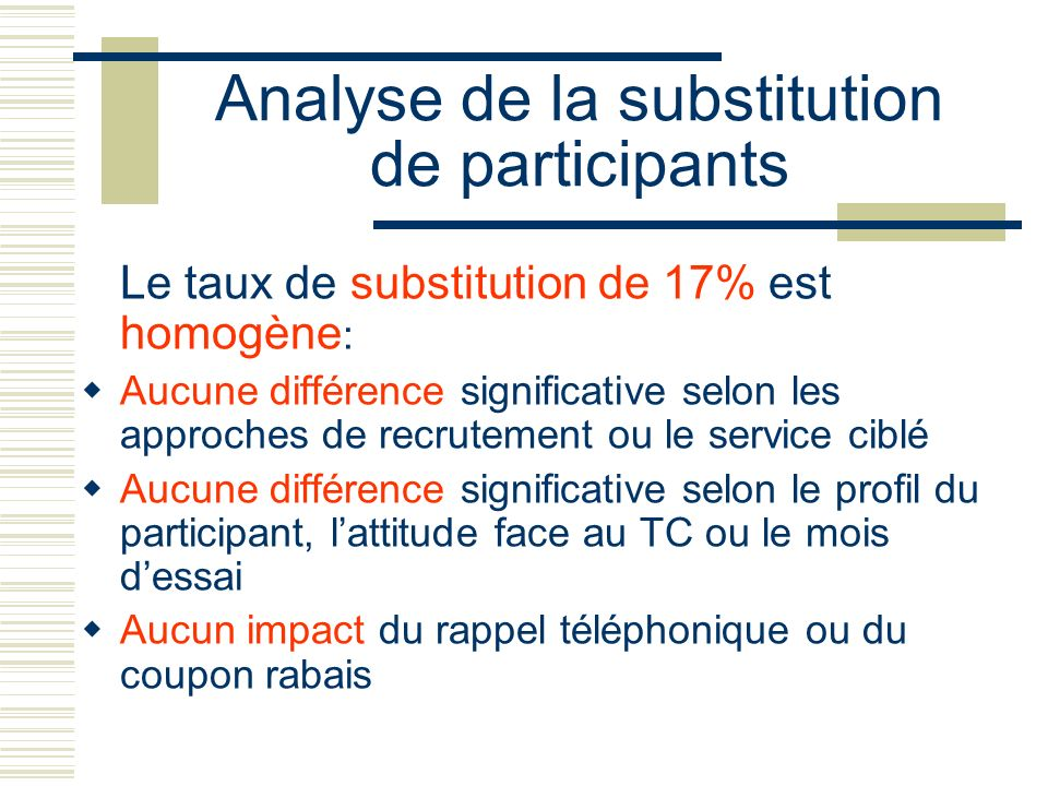 Analyse de la substitution de participants