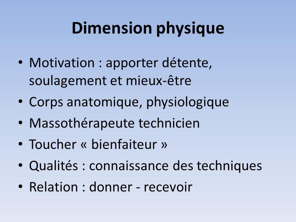 Dimension physique Motivation : apporter détente, soulagement et mieux-être. Corps anatomique, physiologique.