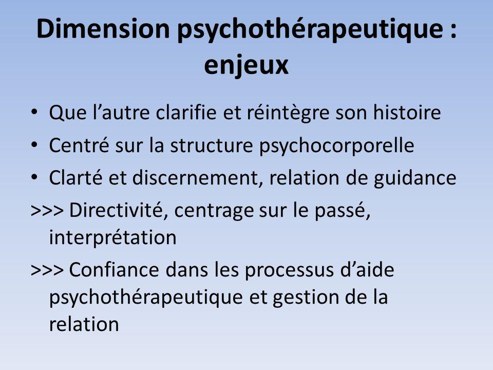 Dimension psychothérapeutique : enjeux