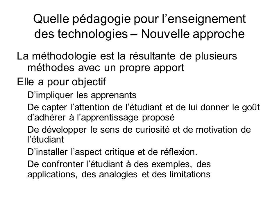Quelle pédagogie pour l'enseignement des technologies – Nouvelle approche