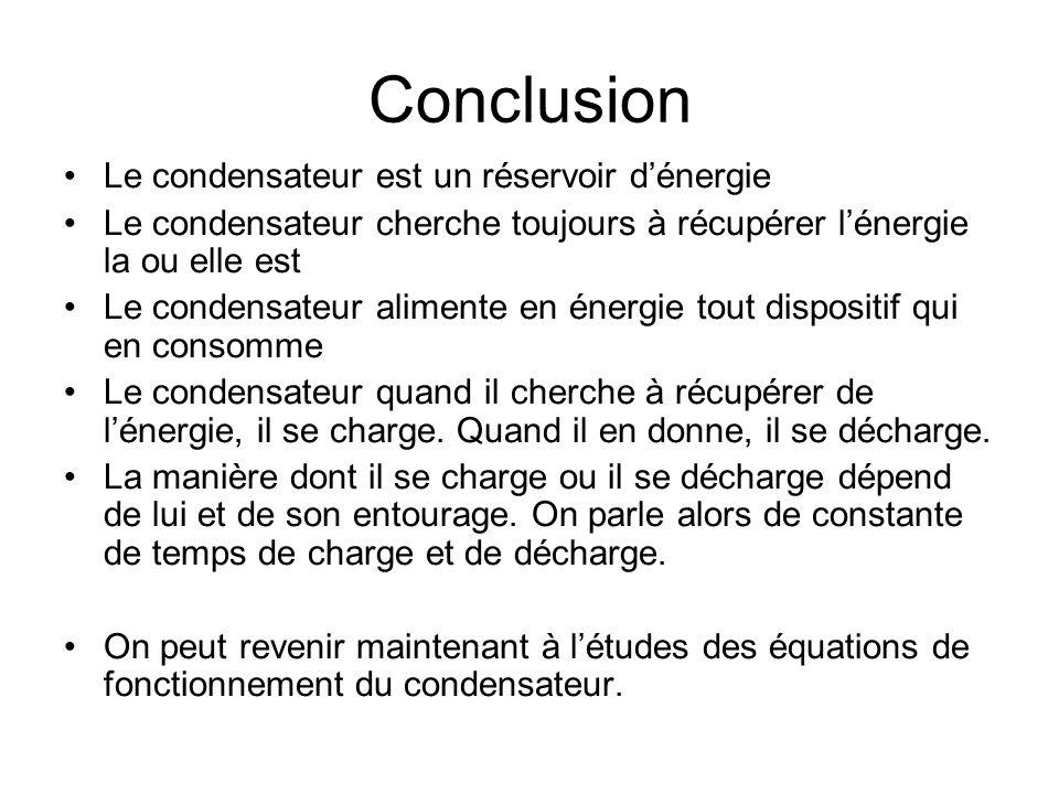 Conclusion Le condensateur est un réservoir d'énergie