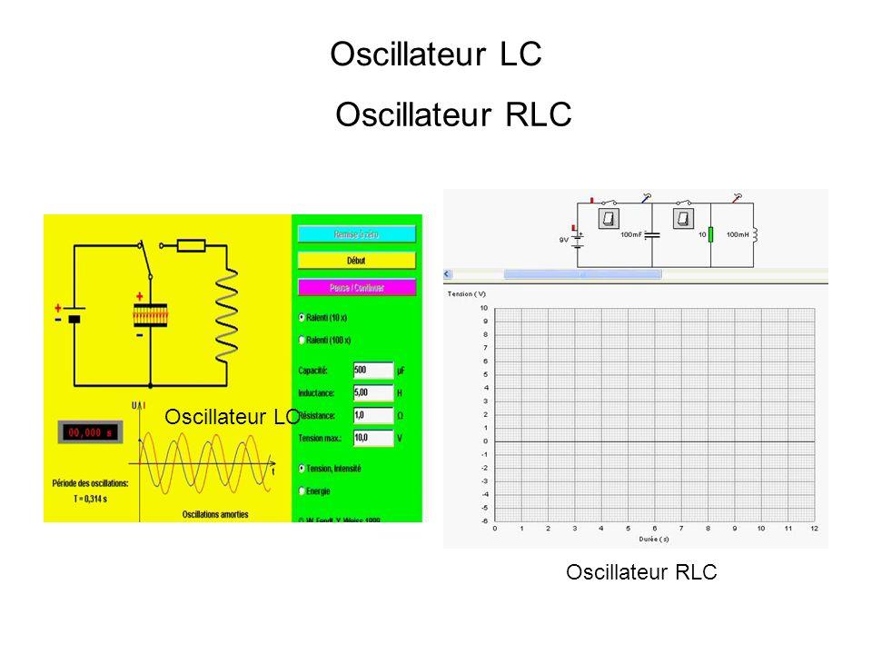 Oscillateur LC Oscillateur RLC Oscillateur LC Oscillateur RLC