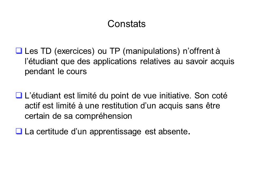 Constats Les TD (exercices) ou TP (manipulations) n'offrent à l'étudiant que des applications relatives au savoir acquis pendant le cours.