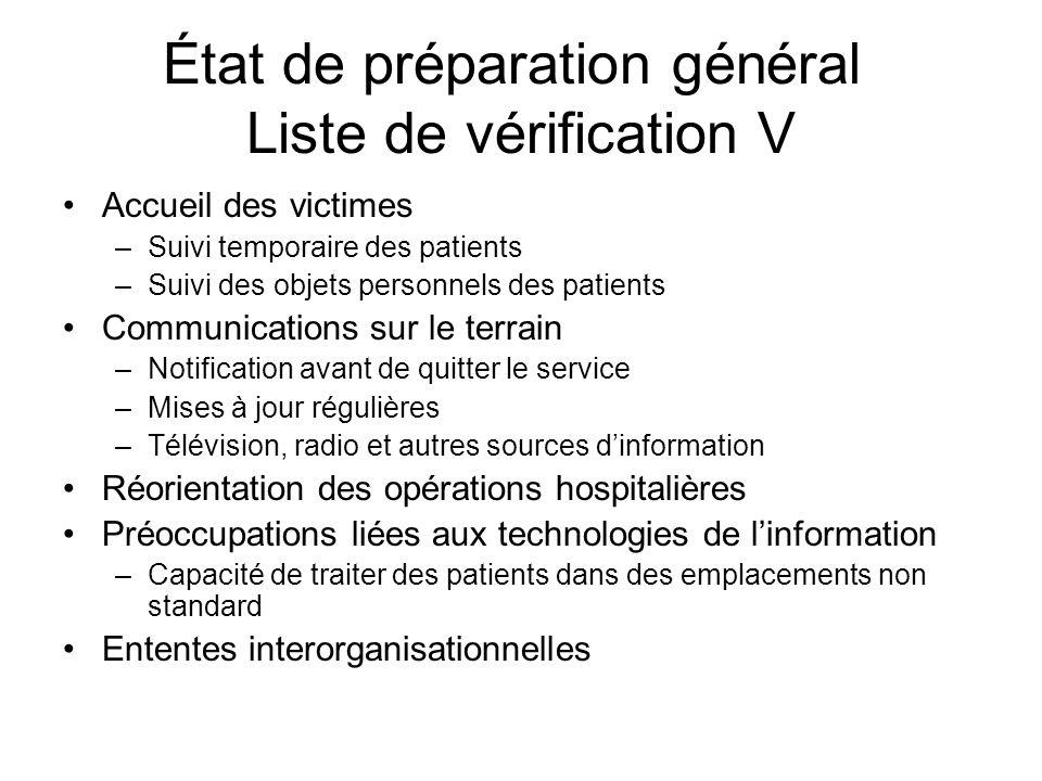 État de préparation général Liste de vérification V