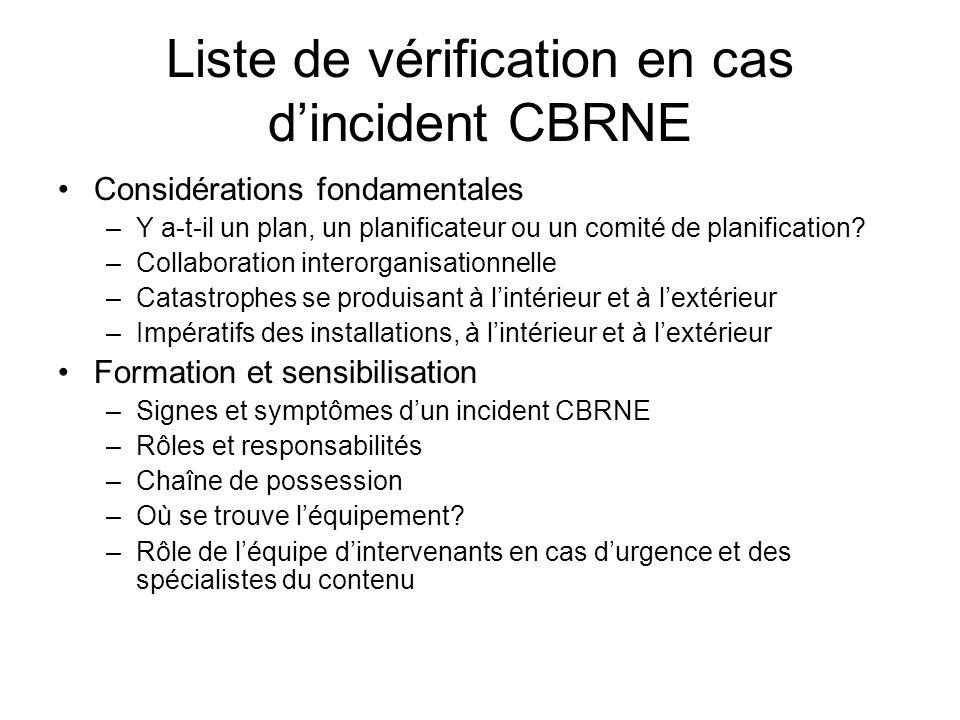 Liste de vérification en cas d'incident CBRNE