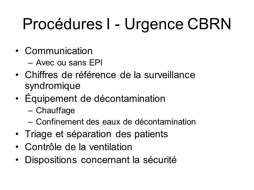 Procédures I - Urgence CBRN