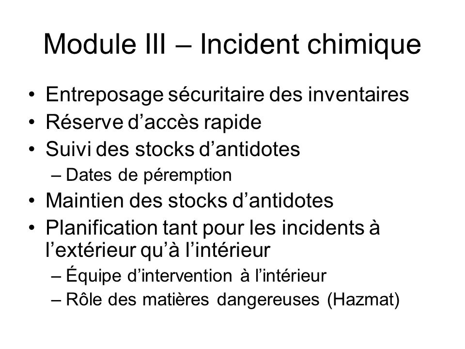 Module III – Incident chimique