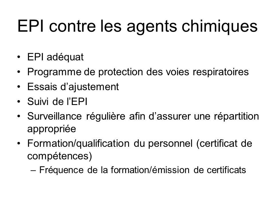 EPI contre les agents chimiques