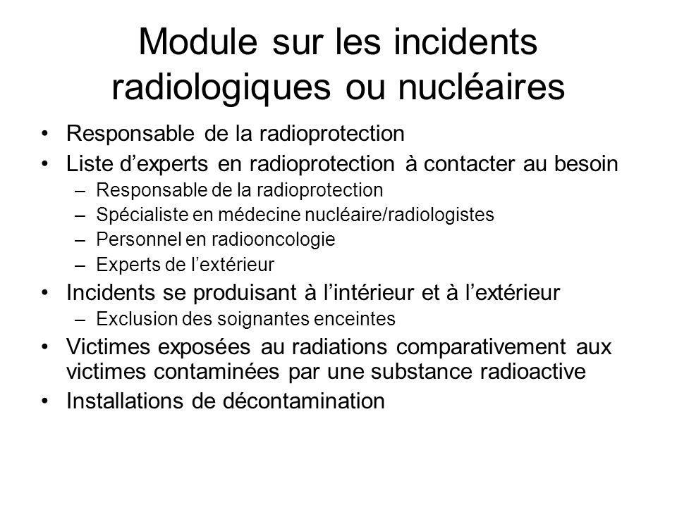 Module sur les incidents radiologiques ou nucléaires