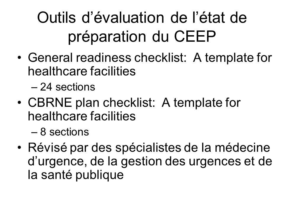 Outils d'évaluation de l'état de préparation du CEEP