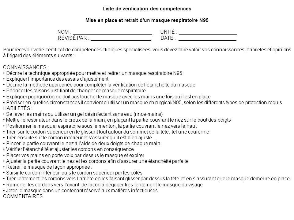 Liste de vérification des compétences