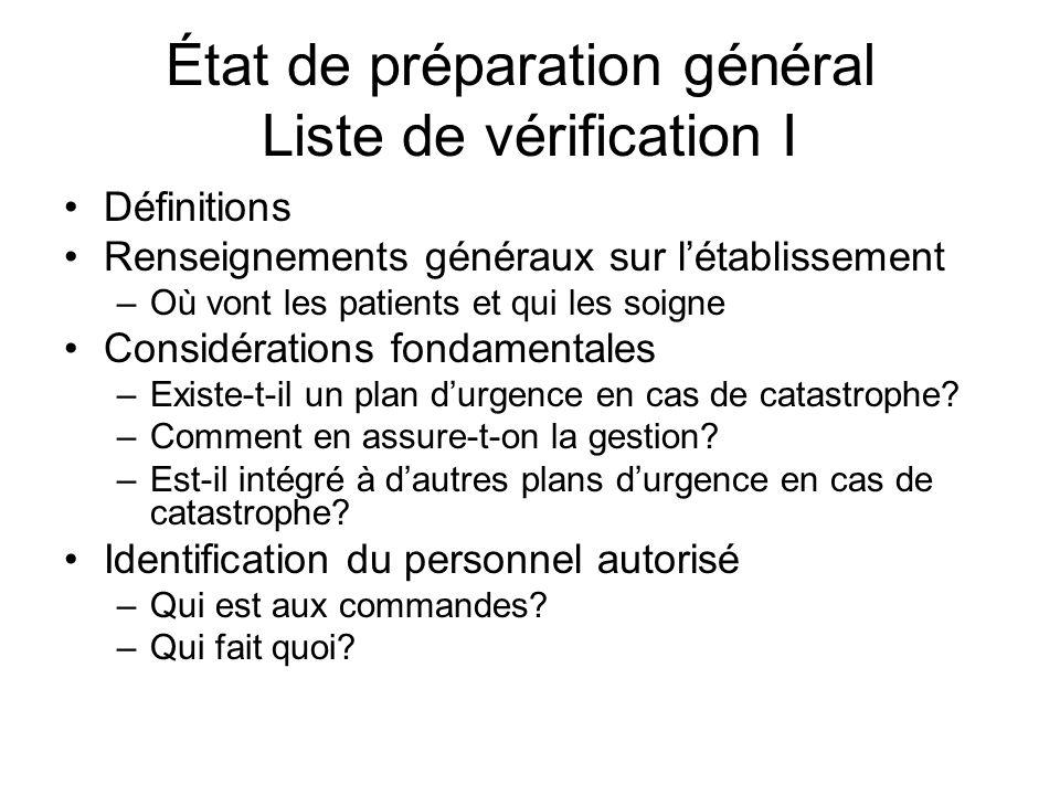 État de préparation général Liste de vérification I