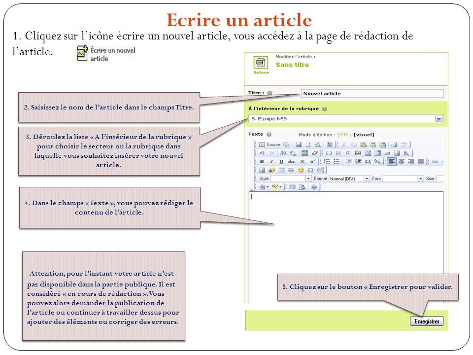 Ecrire un article 1. Cliquez sur l'icône écrire un nouvel article, vous accédez à la page de rédaction de l'article.