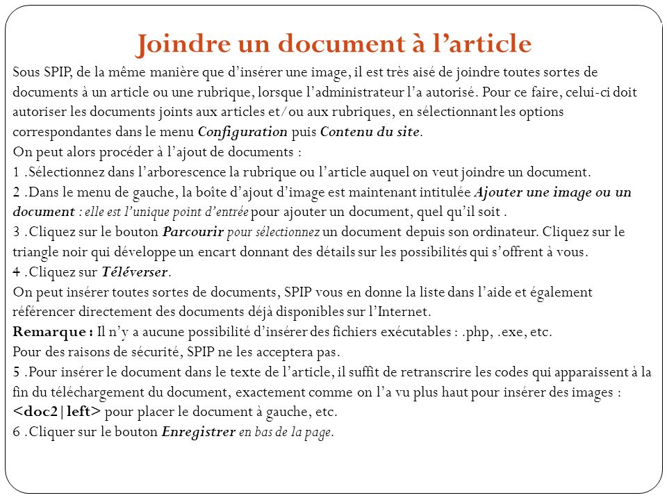 Joindre un document à l'article