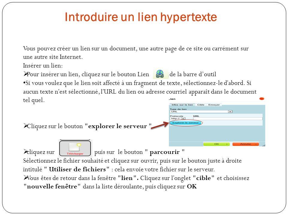 Introduire un lien hypertexte